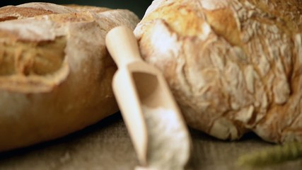 Rustic bread and wheat