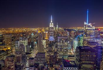 New York City Manhattan buildings skyline evening