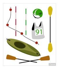 Set of Canoe or Kayak Equipment on White Background