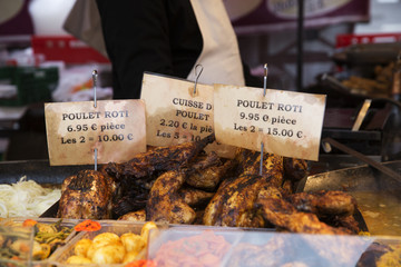 Grilled Chickens at the Market in Paris at spring