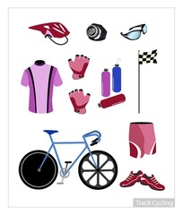 Set of Track Cycling Equipment on White Background