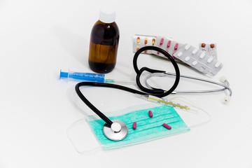 Set for flu treatment - health and medicine concept