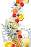 Water splash with fresh fruits