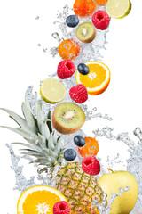 Water splash with fresh fruits