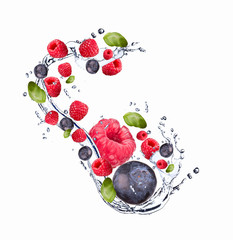Water splash with fruits, Fresh fruits falling, motion