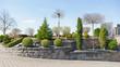 Leinwanddruck Bild - Gepflegter Vorgarten mit Koniferen