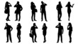 people use smartphone silhouettes - 80861420