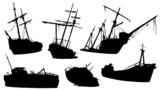shipwreck silhouettes - 80861421