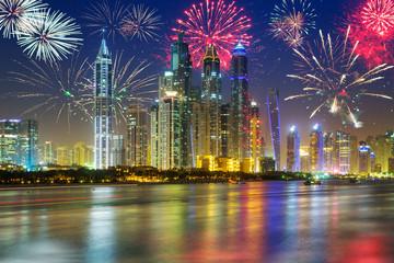 Fireworks displayon the sky in Dubai city, UAE