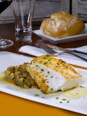 Cod grilled with vegetables