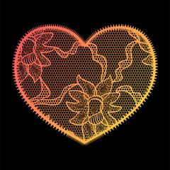 Lace heart gradient applique