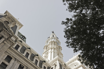 View of Philadelphia City Hall & Statue of Penn