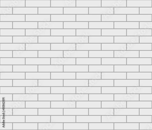 Abstract seamless white flat brick wall - 80862891