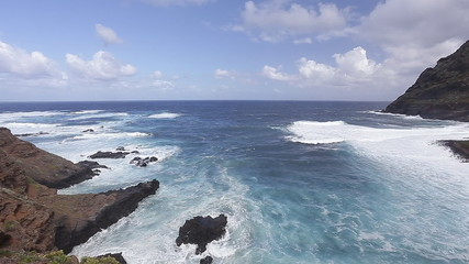 Wild waves clashing on vulcanic rocks of Tenerife