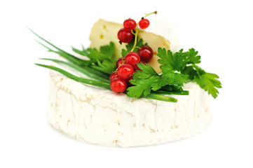 Camembert cheese with red currants and parsley on white