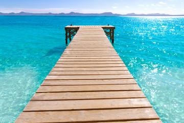 Platja de Alcudia beach pier in Mallorca Majorca
