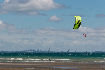 kitesurfers in Hauraki Gulf, New Zealand