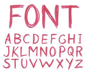 Handwritten red pink font. Watercolor. Vector illustration.