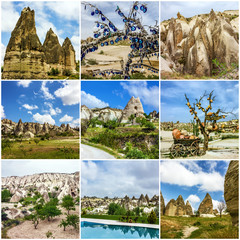 Collage - cave mountain landscapes, Cappadocia, Turkey