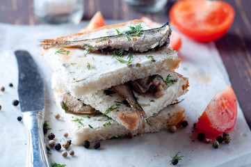 Sandwich, tapas with sardines