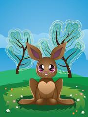 Brown Rabbit on Lawn