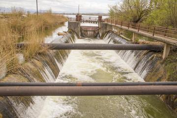 water overflow  in lake of Ioannina