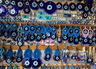 Traditional blue evil eyes - popular Turkish souvenir.