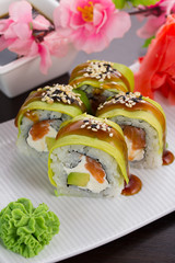 Big maki sushi. roll green dragon