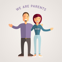 Happy Family - Young Parents. Flat Design Vector Illustration