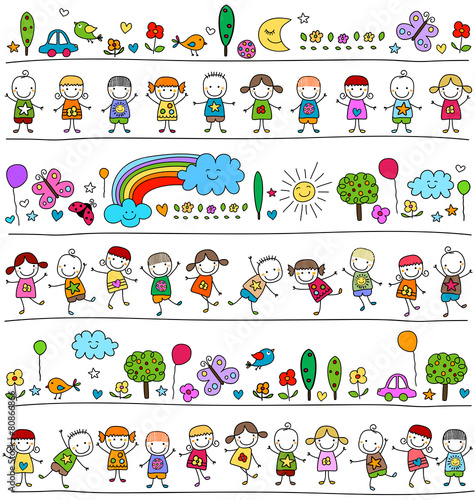 colorful pattern with children and cute nature elements