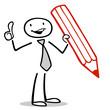 Business Mann mit Stift hält Daumen hoch