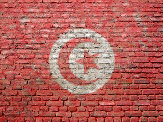 Tunisia flag painted on wall