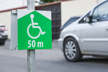 Symbol of parking lot,  site for a disabled person.