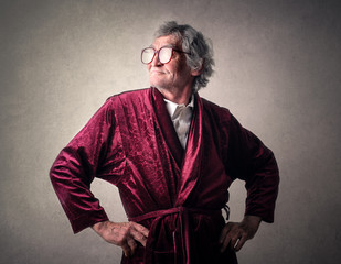 Man wearing a dressing gown