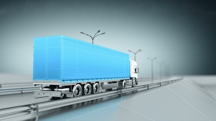 Blue cargo truck on a highway back view looping animation
