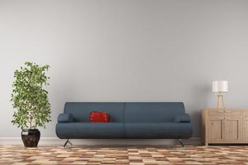 Sofa vor Wand im Wohnzimmer