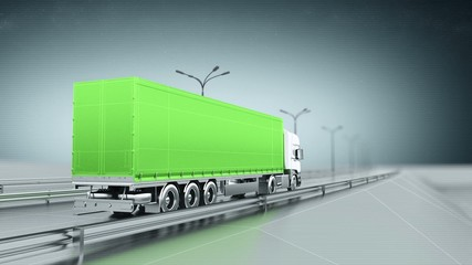 Green cargo truck on a highway back view looping animation