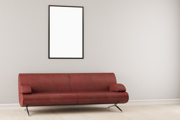 Leerer Rahmen an Wand im Wohnzimmer
