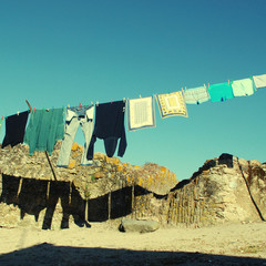 drying clothes in a village, Portugal