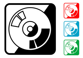 Icono simbolo CD en varios colores