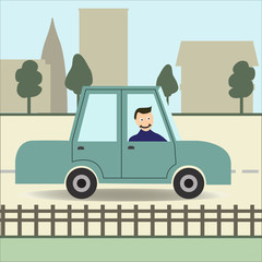 Man in a car in the city. Flat style. Vector illustration
