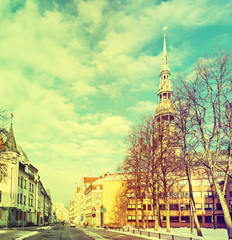 View on Saint Peter church bywinter, Riga, Latvia