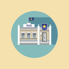 Police station flat icon with a long shadow. Vector illustration