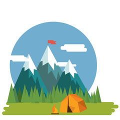 Flat design nature landscape illustration of  mountains and forr