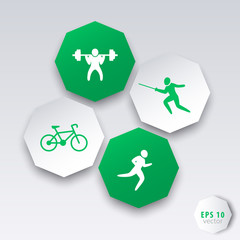 Sports (Weightlifting, Fencing, Cycling, Running) 3d icons