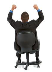 Businessman:  Cheering Businessman from Behind