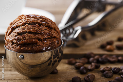 Foto op Canvas Dessert Chocolate coffee ice cream ball scoop spoon