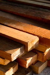 Wood timber construction material, Stack of Building Lumber at C