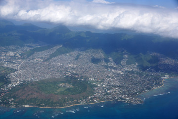 Aerial of Diamond Head Crater, Kaimuki, Kahala, and Honolulu wit