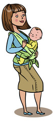 Mom holding her baby in a sling. vector illustration